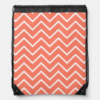 Orange Chevron Pattern Drawstring Bag