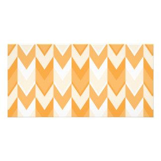 Orange Chevron Pattern. Photo Card