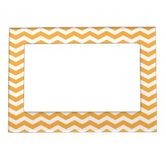 Orange Chevron Pattern Picture Frame Magnet
