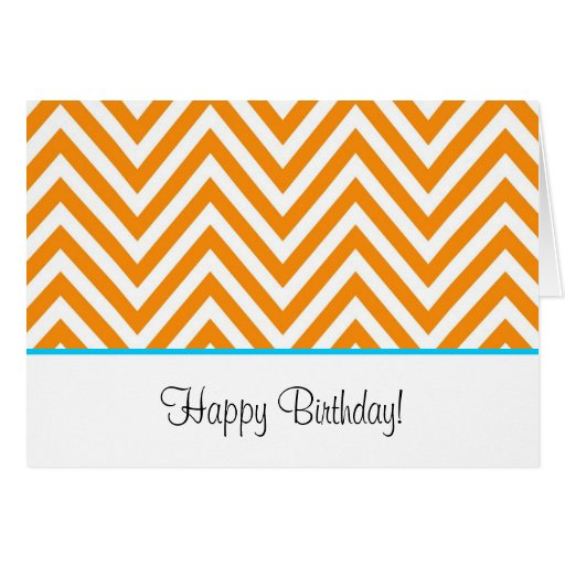 Orange Chevron Preppy Birthday Card