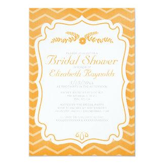 Orange Chevron Stripes Bridal Shower Invitations