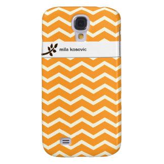 Orange Chevron Tree Branch Personalize Custom Name Samsung Galaxy S4 Cover