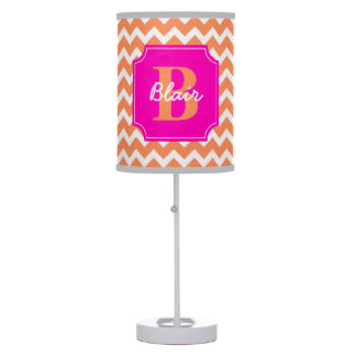Orange Chevron with Pink Frame Name and Initial Table Lamp