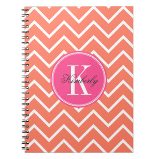 Orange Chevron with Pink Monogram Notebook