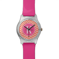 Orange Chevron with Pink Monogram Watch