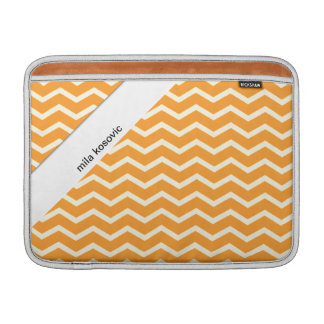 Orange Chevron Zig Zag Stripes Custom Name Sleeve For MacBook Air