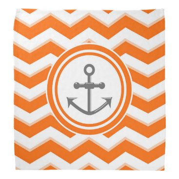 Beach Themed Orange Chevron Zigzag Pattern Anchor Smile Bandana