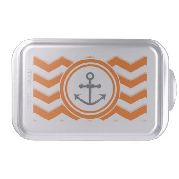 Beach Themed Orange Chevron Zigzag Pattern Anchor Smile Cake Pan