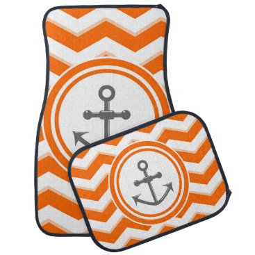 Beach Themed Orange Chevron Zigzag Pattern Anchor Smile Car Floor Mat