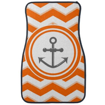 Beach Themed Orange Chevron Zigzag Pattern Anchor Smile Car Mat