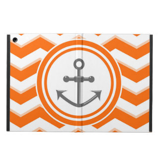 Orange Chevron Zigzag Pattern Anchor Smile Case For iPad Air