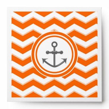 Beach Themed Orange Chevron Zigzag Pattern Anchor Smile Envelope