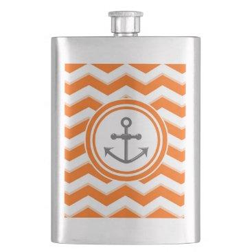 Beach Themed Orange Chevron Zigzag Pattern Anchor Smile Hip Flask