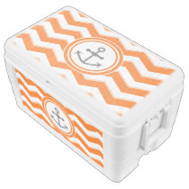 Orange Chevron Zigzag Pattern Anchor Smile Ice Chest