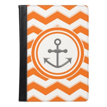 Beach Themed Orange Chevron Zigzag Pattern Anchor Smile iPad Air Case