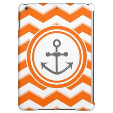 Beach Themed Orange Chevron Zigzag Pattern Anchor Smile iPad Air Cover