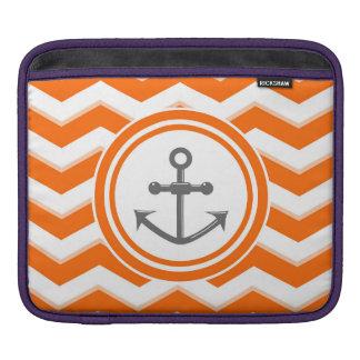 Orange Chevron Zigzag Pattern Anchor Smile iPad Sleeves