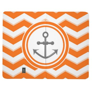 Beach Themed Orange Chevron Zigzag Pattern Anchor Smile Journal