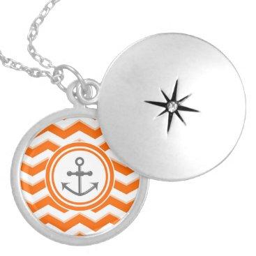 Beach Themed Orange Chevron Zigzag Pattern Anchor Smile Locket Necklace