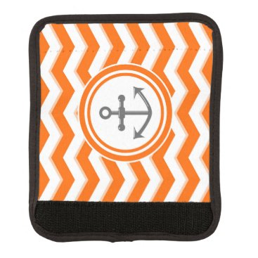 Beach Themed Orange Chevron Zigzag Pattern Anchor Smile Luggage Handle Wrap
