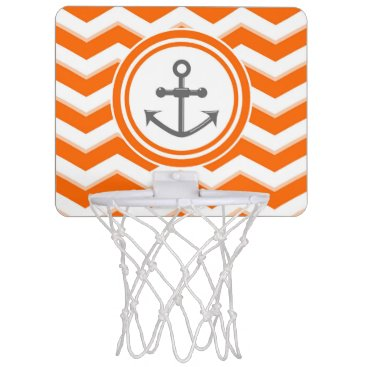 Beach Themed Orange Chevron Zigzag Pattern Anchor Smile Mini Basketball Hoop