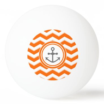 Beach Themed Orange Chevron Zigzag Pattern Anchor Smile Ping Pong Ball