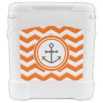 Orange Chevron Zigzag Pattern Anchor Smile Rolling Cooler