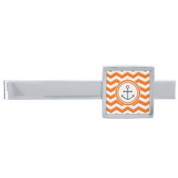 Beach Themed Orange Chevron Zigzag Pattern Anchor Smile Silver Finish Tie Bar