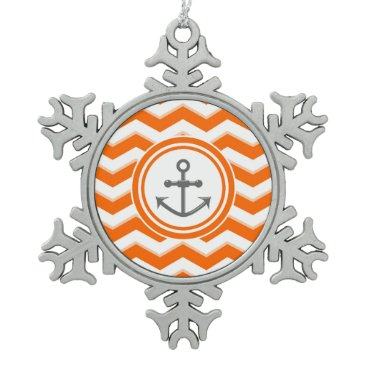 Beach Themed Orange Chevron Zigzag Pattern Anchor Smile Snowflake Pewter Christmas Ornament