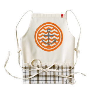 Orange Chevron Zigzag Pattern Anchor Smile Zazzle HEART Apron
