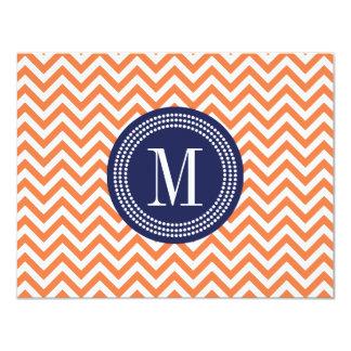 Orange Chevron Zigzag Personalized Monogram Card