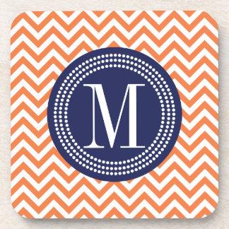 Orange Chevron Zigzag Personalized Monogram Coaster