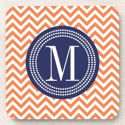 Orange Chevron Zigzag Personalized Monogram Coasters