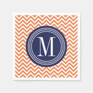 Orange Chevron Zigzag Personalized Monogram Disposable Napkins
