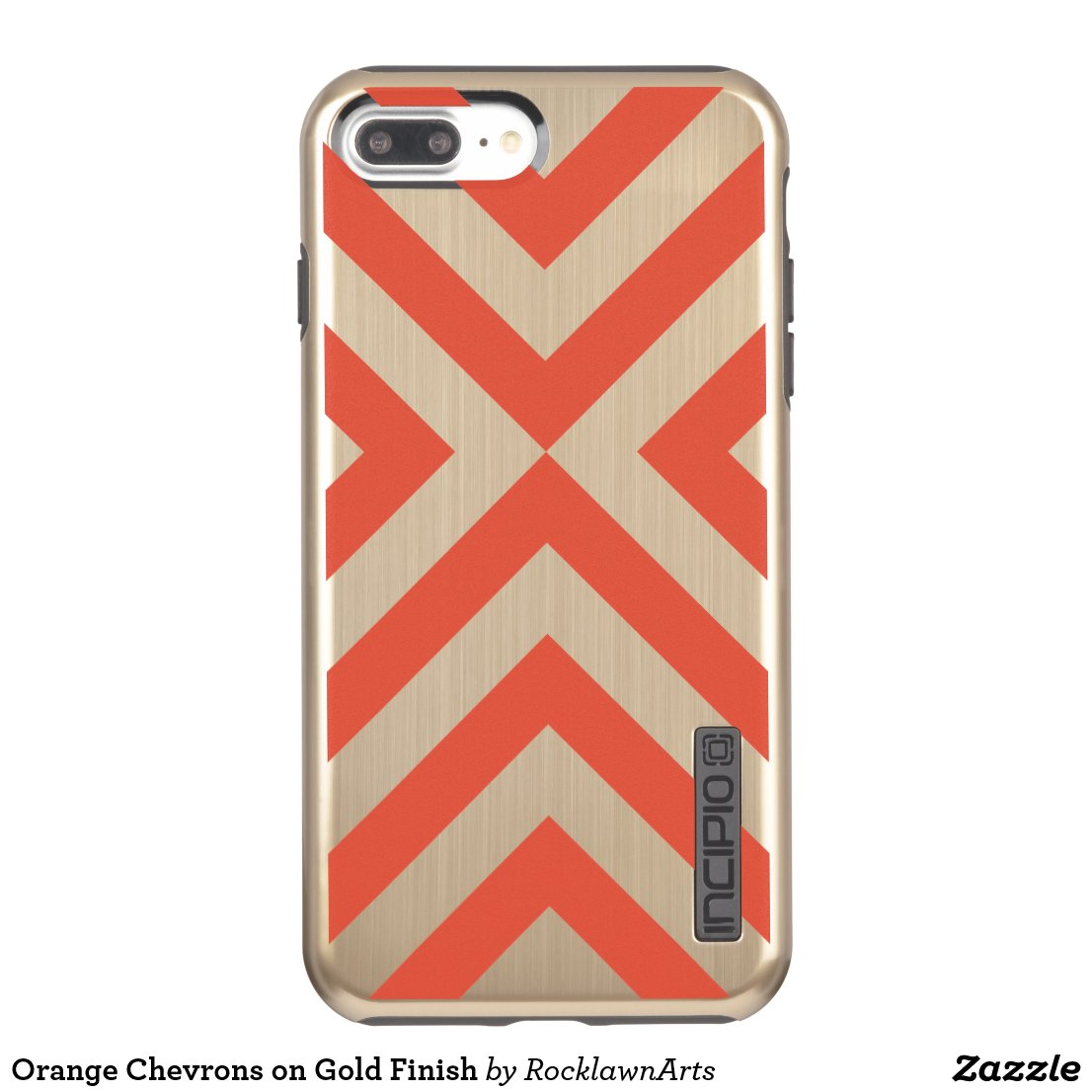Orange Chevrons on Gold Finish Incipio DualPro Shine iPhone 7 Plus Case