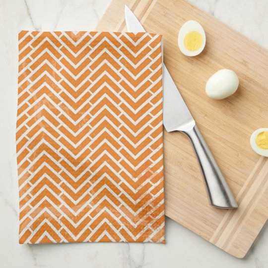 Orange Chevrons Tea Towel Kitchen Towel Zazzle Com