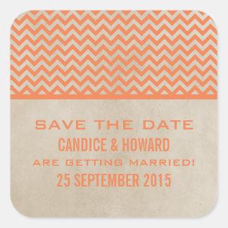 Orange Chic Chevron Save the Date Stickers