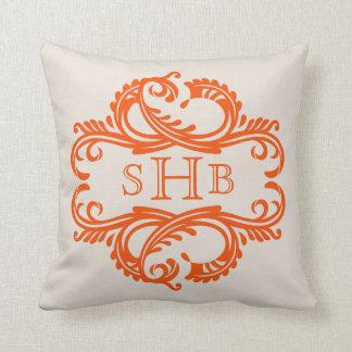 Orange Chic Damask Monogram Pillow
