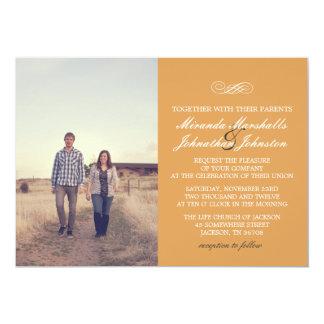 "Orange Chic Design Photo Wedding Invitations 5"" X 7"" Invitation Card"