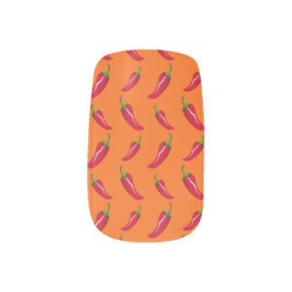 Orange chili peppers pattern minx nail art