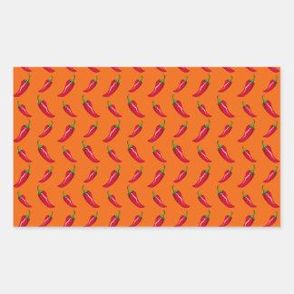 Orange chili peppers pattern rectangular stickers