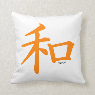 Orange Chinese Peace Sign Throw Pillows