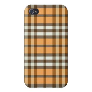 Orange/Chocolate Brown Plaid Pern iPhone 4/4S Cases
