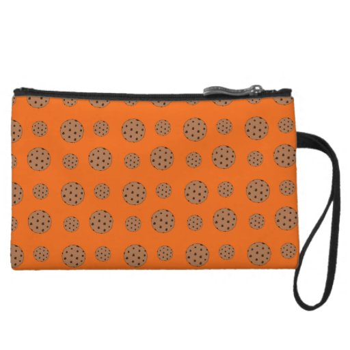 Orange chocolate chip cookies pattern wristlet clutch