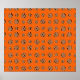 Orange chocolate chip cookies pattern poster