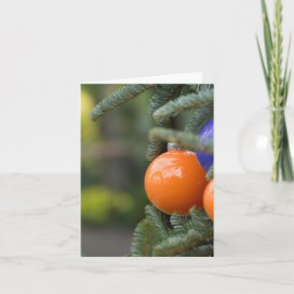 Orange Christmas Ball Greeting Card