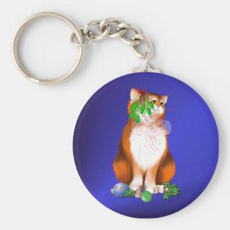 Orange Christmas Kitty  Keychain