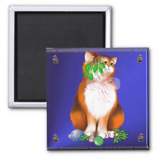 Orange Christmas Kitty  Magnet