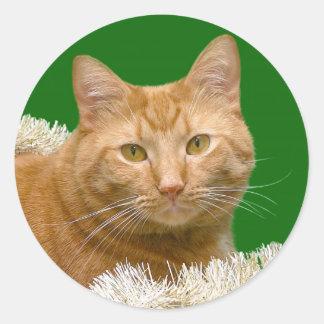 Orange Christmas tabby Classic Round Sticker