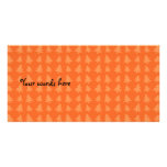 Orange christmas trees pattern picture card